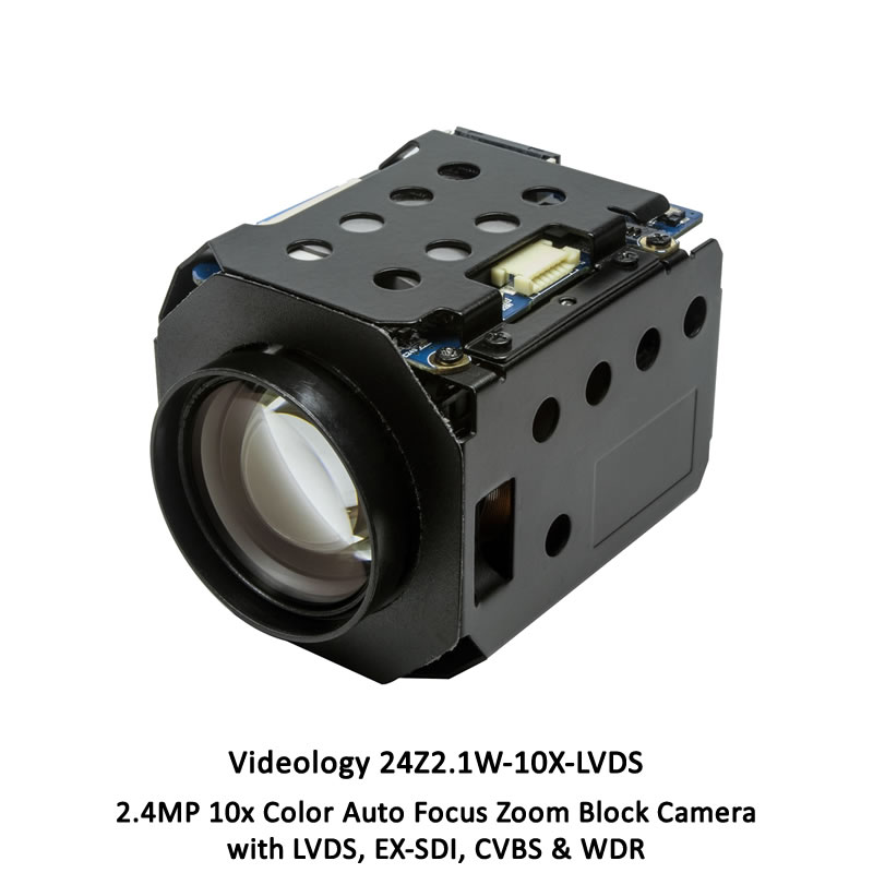 Videology 24Z2.1W-10X-LVDS 2.4MP 10x Color Auto Focus Zoom Block Camera