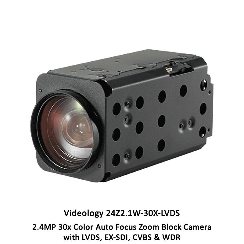 Videology 24Z2.1W-30X-LVDS 2.4MP 30x Color Auto Focus Zoom Block Camera
