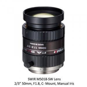 SWIR M5018-SW 2/3 in. 50mm, F1.8, C- Mount, Manual Iris