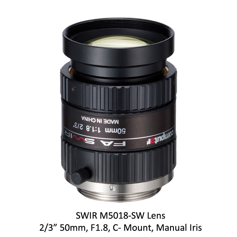 SWIR M5018-SW 2/3 in. 50mm, F1.8, C- Mount, Manual Iris