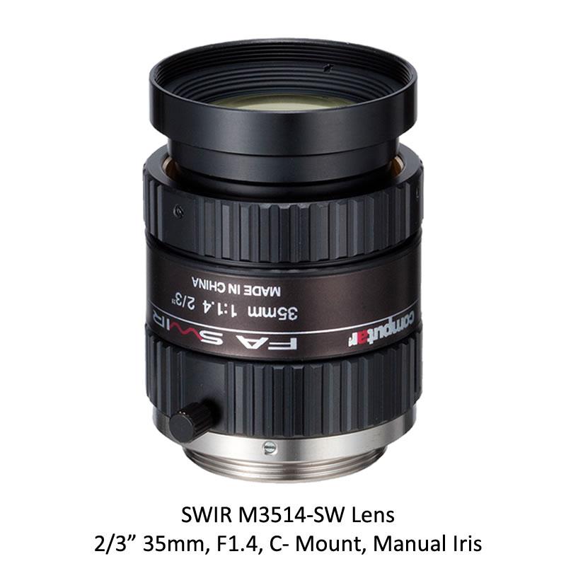 SWIR M3514-SW 2/3 in. 35mm, F1.4, C- Mount, Manual Iris
