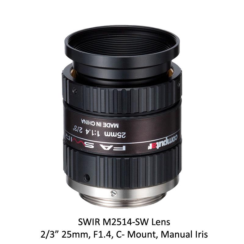 SWIR M2514-SW 2/3 in. 25mm, F1.4, C- Mount, Manual Iris