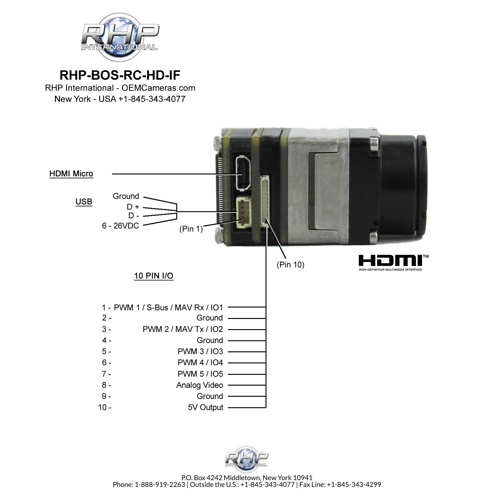RHP Boson RC-HD-IF Remote Control Pin Out